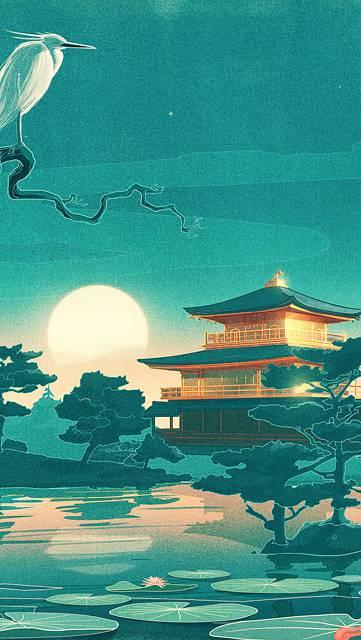 金閣寺と鳥の綺麗なイラスト