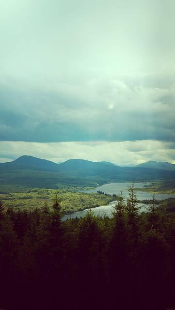 森と山と青空のさわやかな写真