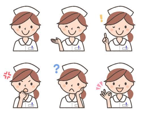 女性看護師の表情イラスト6種