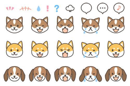 イヌの表情イラスト「喜怒哀楽」3種
