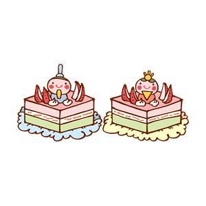 ひな祭りケーキ(セット)の無料イラスト