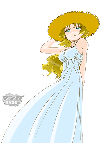 麦わら帽子を被った女性のイラスト