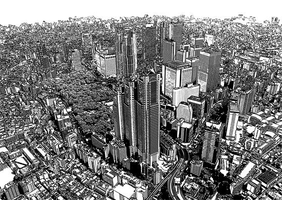 都会のビル群のイラスト