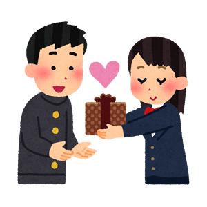 バレンタインにチョコを贈る女性のイラスト(学生)