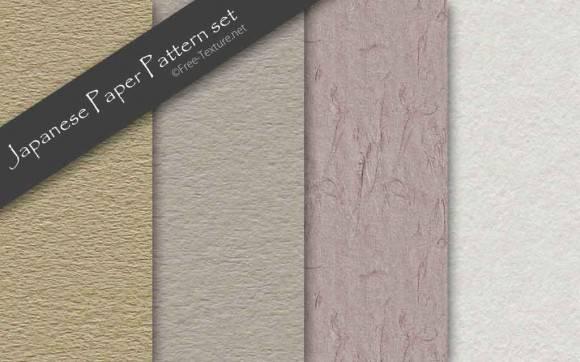 古風な和紙のパターンテクスチャ素材4種類