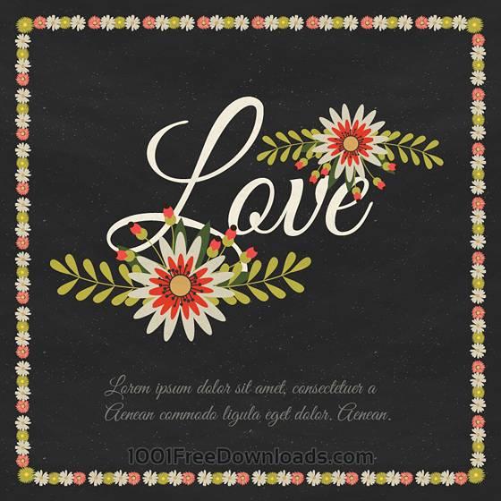 花の飾り枠と「Love」の文字