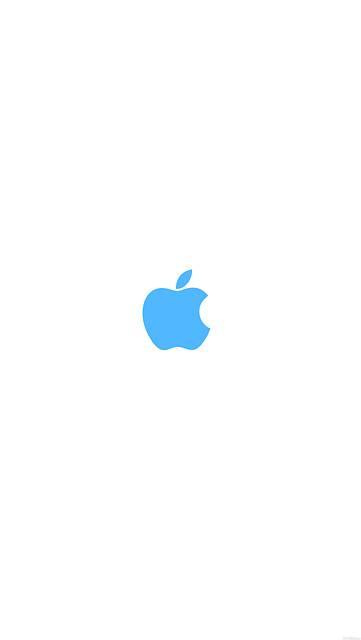シンプルなAppleロゴ(白背景に水色)