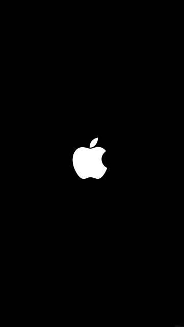 シンプルなAppleロゴ(黒背景に白)