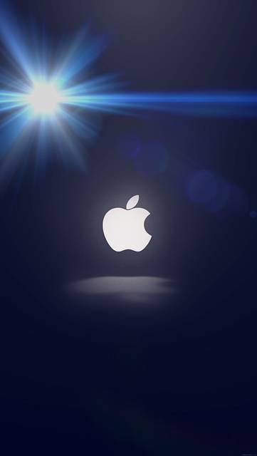 眩しい光とAppleロゴの壁紙