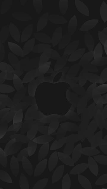 リーフ柄背景とアップルロゴ