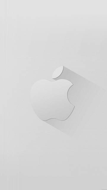 立体的な陰影のAppleロゴ(白)