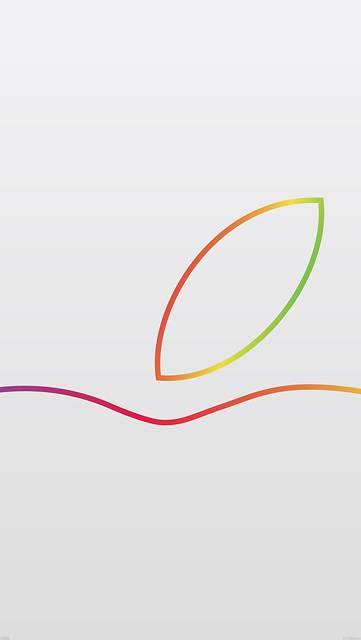 カラフルなラインのAppleロゴの一部