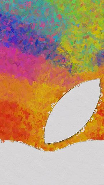 水彩塗りとクローズアップのAppleロゴ