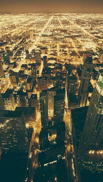 眩しい程の光を放つシカゴの夜景