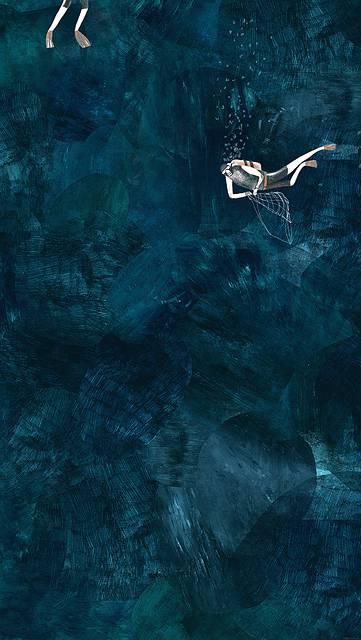 ボンベを背負って漁をする人の壁紙