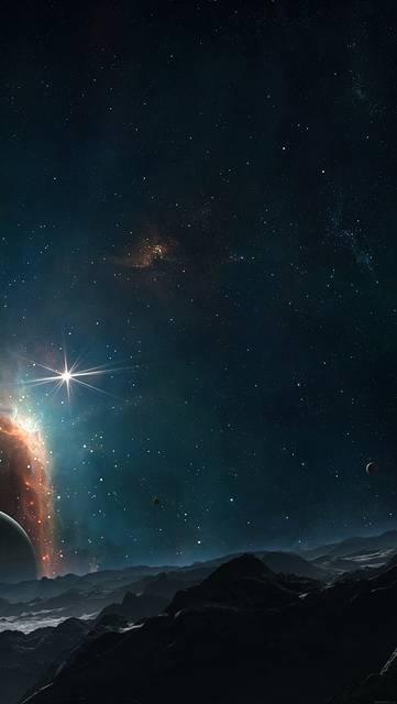 山と宇宙の星空の画像