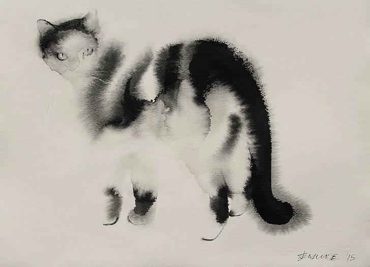 インクの滲みがフワフワの猫の毛並みに! - 02
