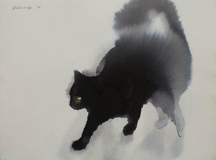 インクの滲みがフワフワの猫の毛並みに! - 03