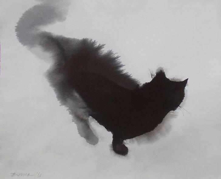 インクの滲みがフワフワの猫の毛並みに! - 04