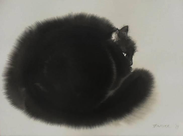 インクの滲みがフワフワの猫の毛並みに! - 06