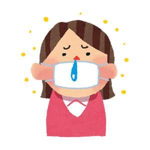 花粉症のイラスト「マスクと鼻水の女性」