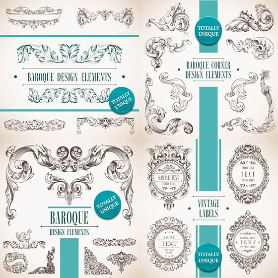 Decorative baroque design elements vector