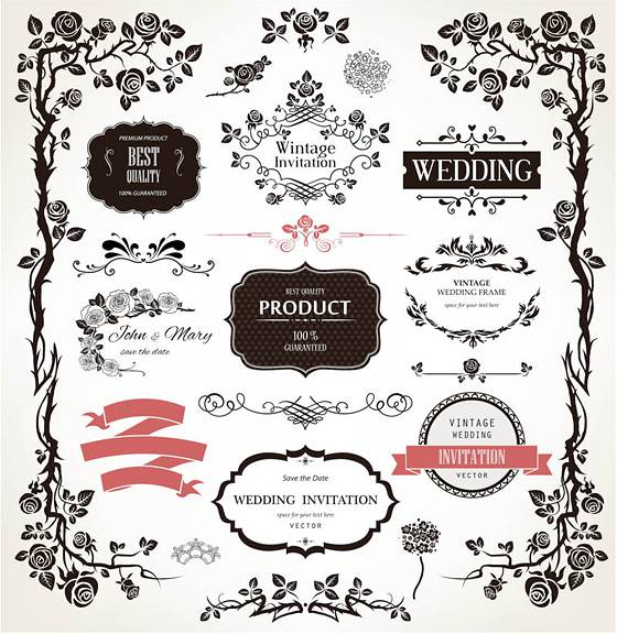 Decorative floral wedding design elements vector