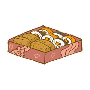 お花見弁当(いなり寿司と巻き寿司)の無料イラスト