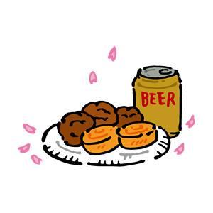 おつまみとビールの無料イラスト
