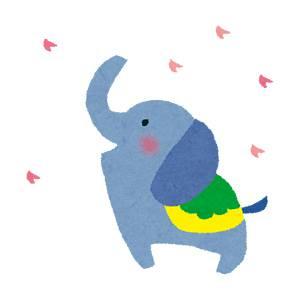 お花見のイラスト「象」