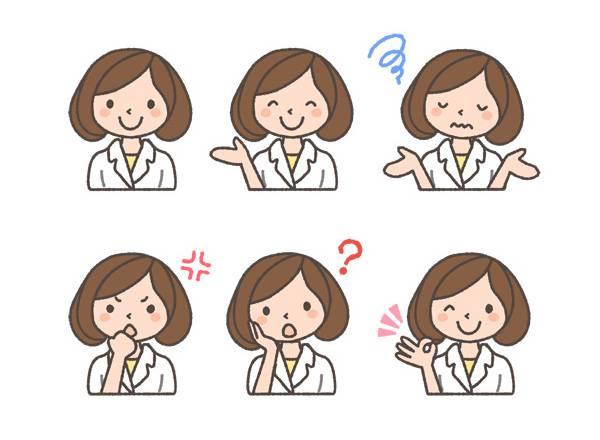 薬剤師(女性)の表情イラスト6種