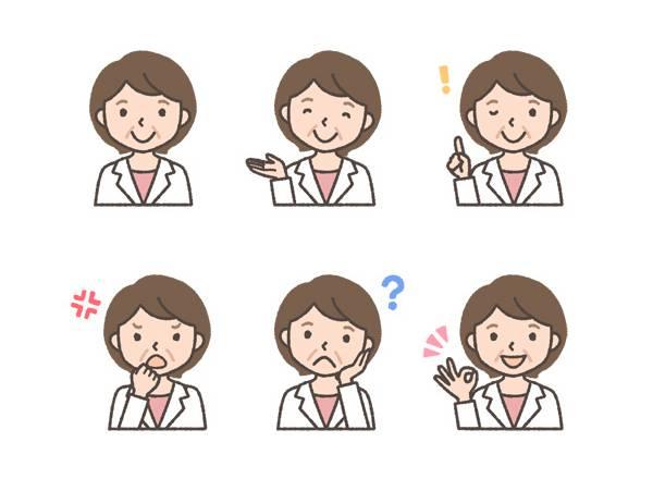 薬剤師(中年女性)の表情イラスト6種