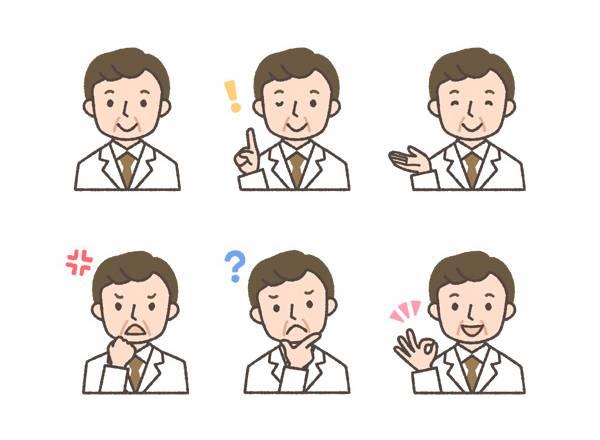 薬剤師(中年男性)の表情イラスト6種