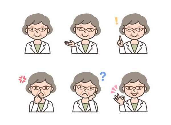 薬剤師(初老の女性)の表情イラスト6種