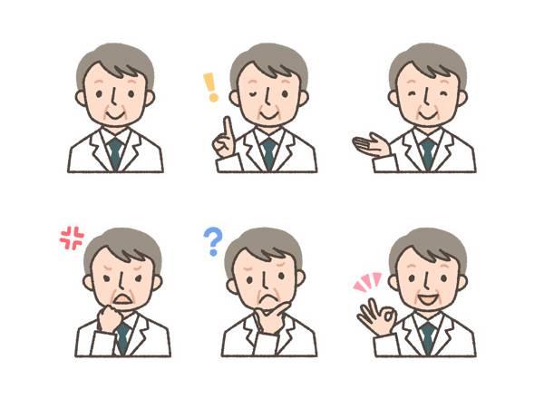 薬剤師(初老の男性)の表情イラスト6種