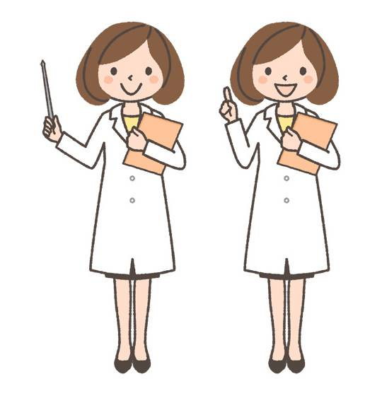 薬剤師(女性)の全身イラスト「指示棒をさす・指を立てる」