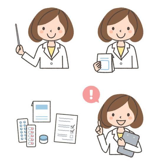 薬剤師(女性)の表情イラスト3種と医薬品のイラスト