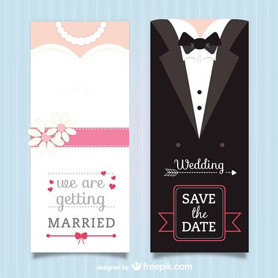 ドレスとタキシードの結婚式ベクターイラストテンプレート