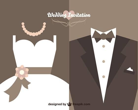 フラットデザイン風の結婚式テンプレート