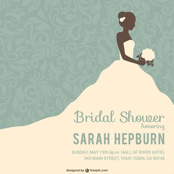 花嫁のシルエットのお洒落な結婚式イラストテンプレート