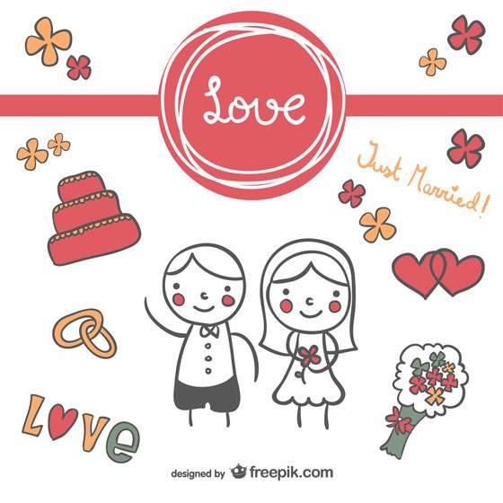 落書き風の可愛い結婚式イラストテンプレート