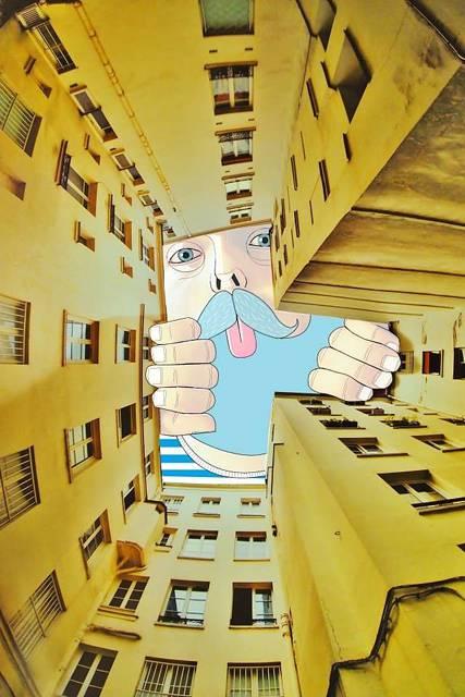 建物の隙間の空がキャンバスに!新しい視点で生み出すイラスト・アート作品 - 02
