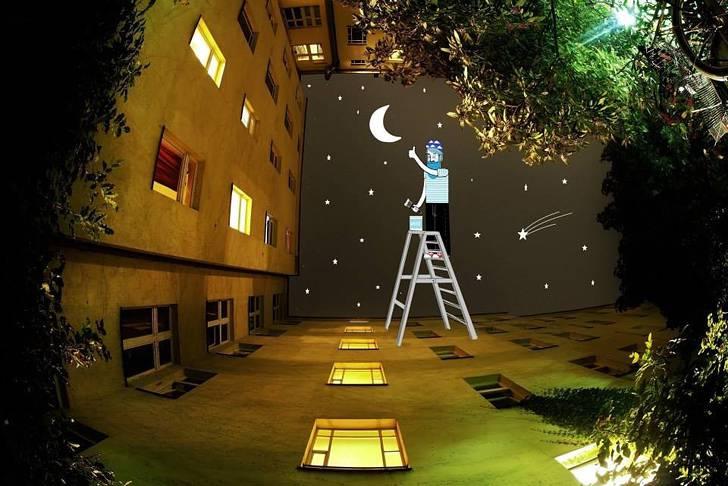 建物の隙間の空がキャンバスに!新しい視点で生み出すイラスト・アート作品 - 03