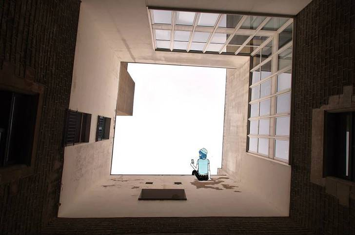 建物の隙間の空がキャンバスに!新しい視点で生み出すイラスト・アート作品 - 04