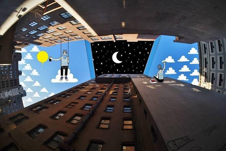 建物の隙間の空がキャンバスに!新しい視点で生み出すイラスト・アート作品 - 05