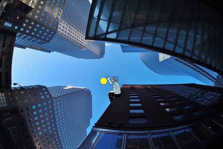 建物の隙間の空がキャンバスに!新しい視点で生み出すイラスト・アート作品 - 06