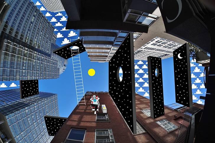 建物の隙間の空がキャンバスに!新しい視点で生み出すイラスト・アート作品 - 08