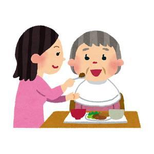 食事介助のイラスト「おばあさんヘルパーさん」
