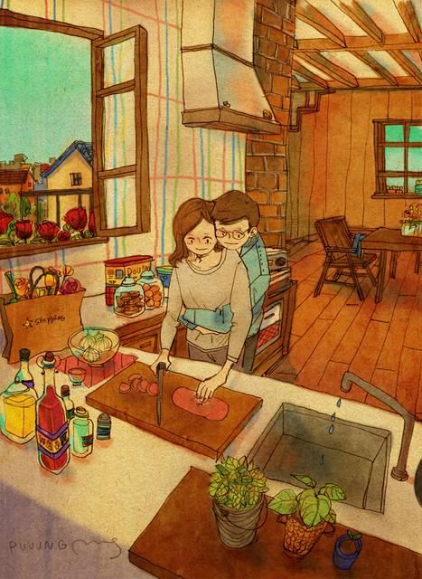 ある恋人たちの日常を描いた愛情あふれるイラスト作品 - 07