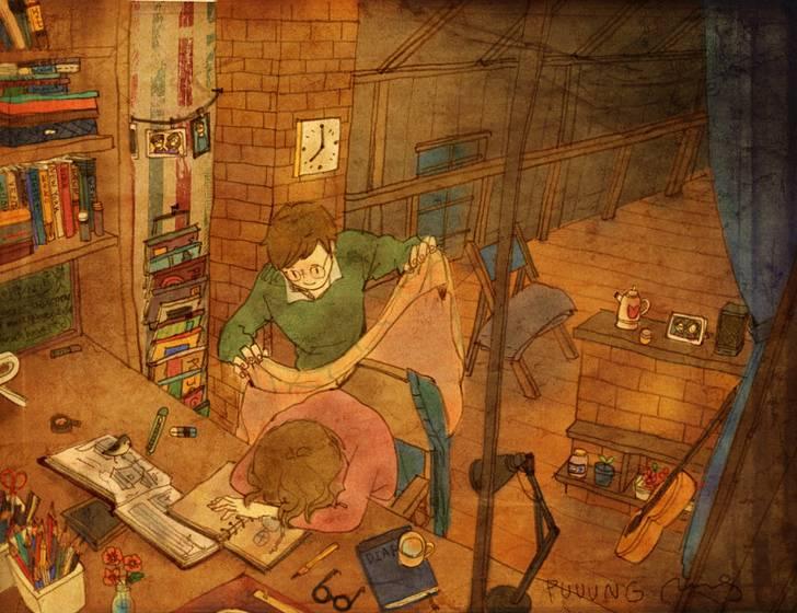 ある恋人たちの日常を描いた愛情あふれるイラスト作品 - 08